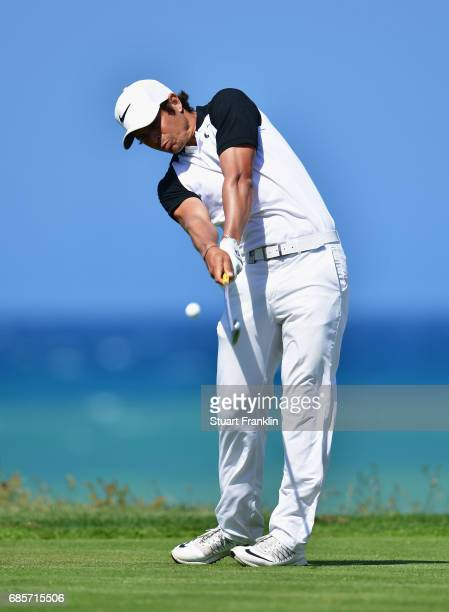 Adrien Saddier of France tees off during day three of The Rocco Forte Open at Verdura Golf and Spa Resort on May 20 2017 in Sciacca Italy