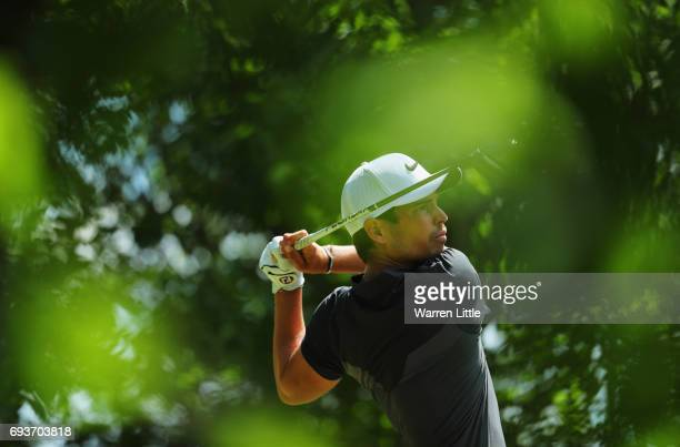 Adrien Saddier of France tees off on the 15th hole during day one of the Lyoness Open at Diamond Country Club on June 8 2017 in Atzenbrugg Austria