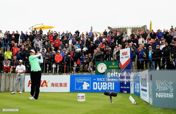Adrien Saddier of France tees off on the 1st during day four of the HNA Open de France at Le Golf National on July 2 2017 in Paris France