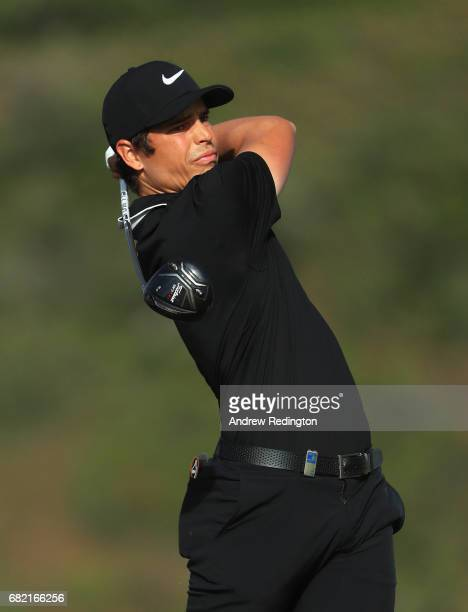 Adrien Saddier of France tees off on the 9th hole during day two of the Open de Portugal at Morgado Golf Resort on May 12 2017 in Portimao Portugal