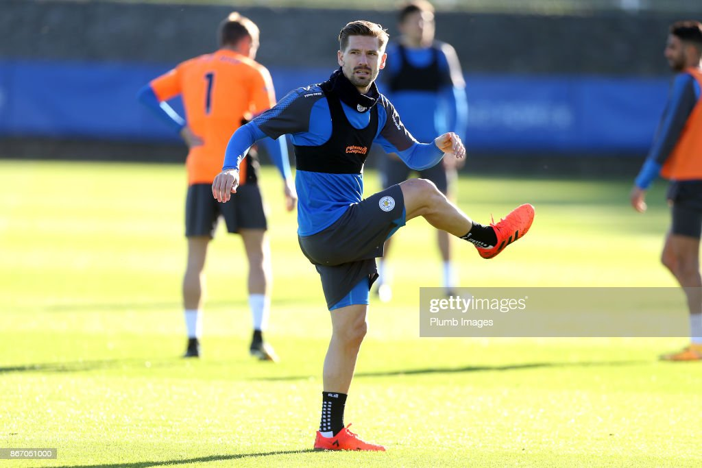Adrien Silva during the Leicester City training session at Belvoir Drive Training Complex on October 27 , 2017 in Leicester, United Kingdom.