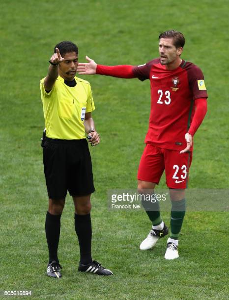 Adrien Silva of Portugal argues with Referee Fahad Al Mirdasi during the FIFA Confederations Cup Russia 2017 PlayOff for Third Place between Portugal...