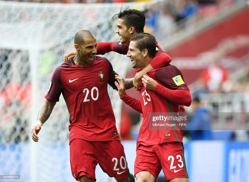 Adrien Silva of Portugal celebrates scoring his sides second goal with Andre Silva of Portugal and Ricardo Quaresma of Portugal during the FIFA Confederations Cup Russia 2017 Play-Off for Third Place between Portugal and Mexico at Spartak Stadium on July 2, 2017 in Moscow, Russia.