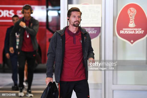 Adrien Silva of Portugal is seen on arrival at the stadium prior to the FIFA Confederations Cup Russia 2017 Group A match between Portugal and Mexico...