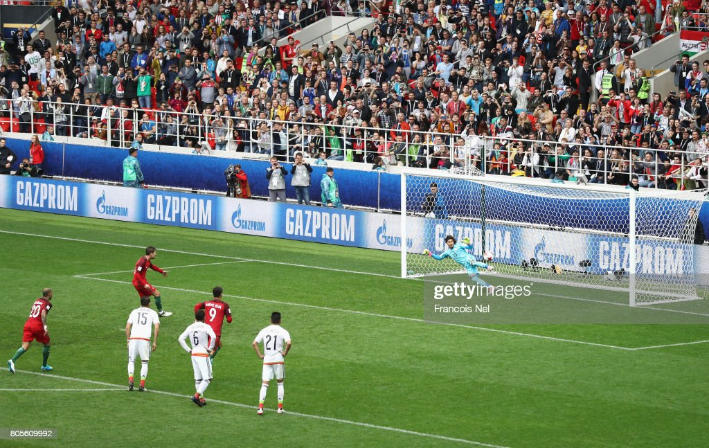 Adrien Silva of Portugal scores his sides second goal past Guillermo Ochoa of Mexico during the FIFA Confederations Cup Russia 2017 Play-Off for Third Place between Portugal and Mexico at Spartak Stadium on July 2, 2017 in Moscow, Russia.