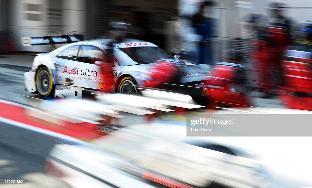 Adrien Tambay of France and Audi Sport Team Abt is doing a pit stop during the sixth round of the DTM 2013 German Touring Car Championship at Moscow Raceway on August 4, 2013 in Moscow, Russia.