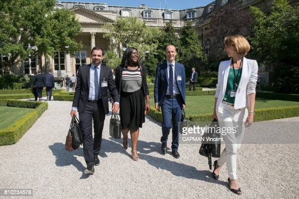 Adrien Taquet Laetitia Avia Stanislas Guerini and Celine Calvez the news members of the French Parliament from the Presidential party on june 19 2017...