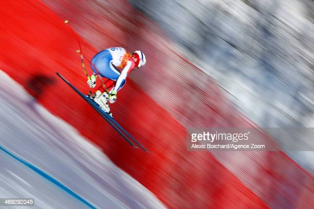 Adrien Theaux of France competes during the Alpine Skiing Men's Super Combined at the Sochi 2014 Winter Olympic Games at Rosa Khutor Alpine Centre on...