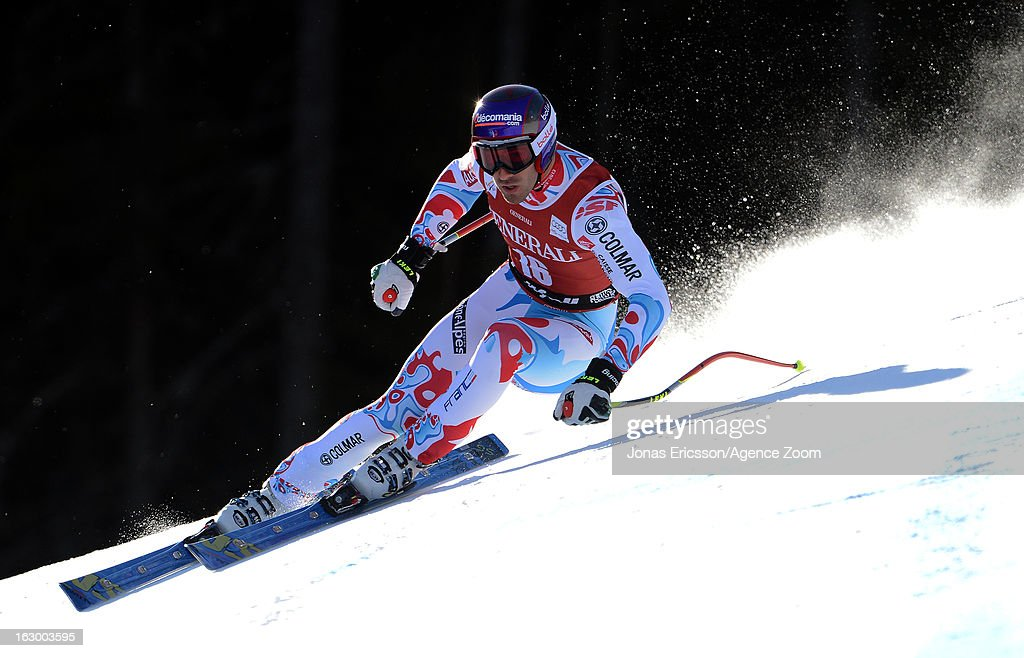 Adrien Theaux of France competes during the Audi FIS Alpine Ski World Cup Men's SuperG on March 3, 2013 in Kvitfjell, Norway.