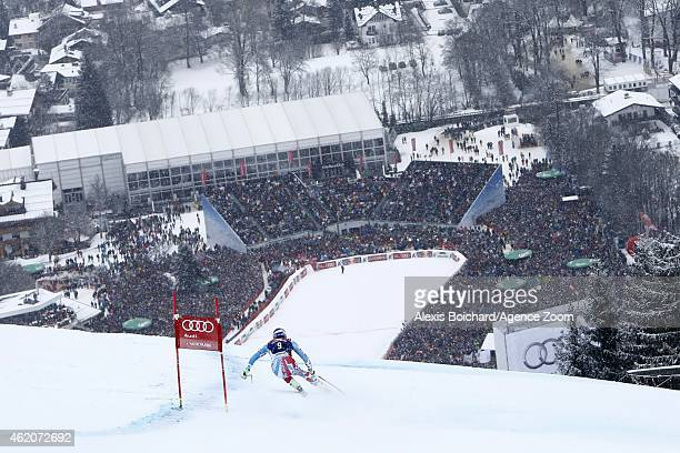 Adrien Theaux of France competes during the Audi FIS Alpine Ski World Cup Men's Downhill on January 24 2015 in Kitzbuehel Austria