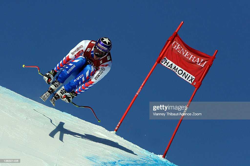 <a gi-track='captionPersonalityLinkClicked' href=/galleries/search?phrase=Adrien+Theaux&family=editorial&specificpeople=2138351 ng-click='$event.stopPropagation()'>Adrien Theaux</a> of France during the Audi FIS Alpine Ski World Cup Men's Super Combined on February 5, 2012 in Chamonix, France.