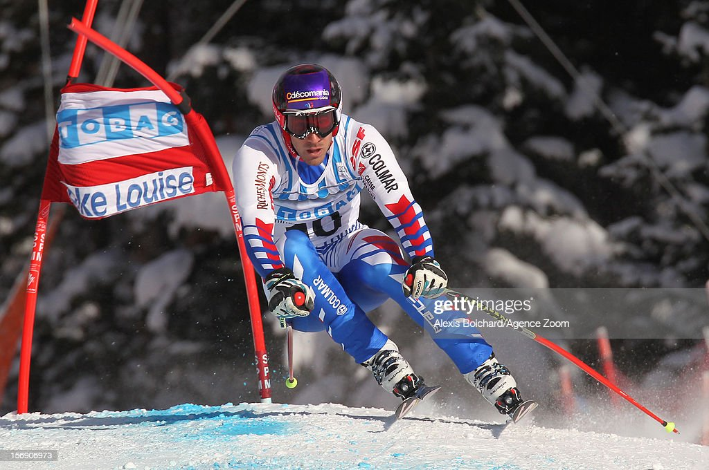 Adrien Theaux of France during the Audi FIS Alpine Ski World Cup Men's Downhill on November 24, 2012 in Lake Louise, Alberta, Canada.