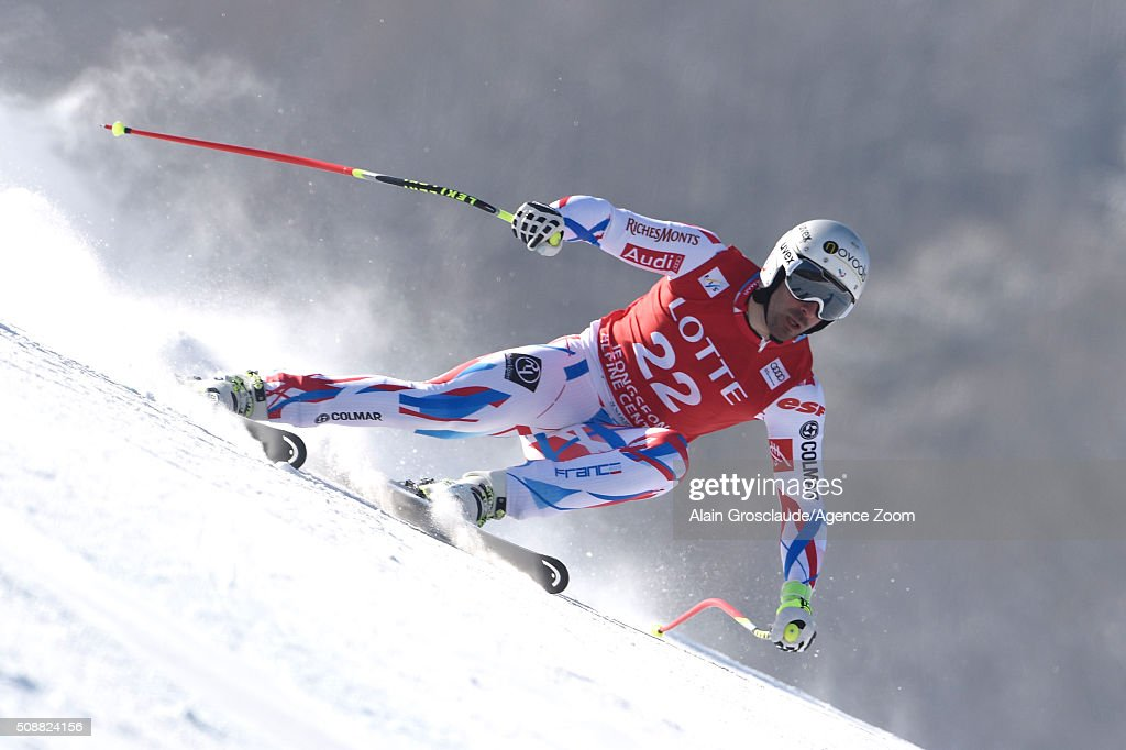 <a gi-track='captionPersonalityLinkClicked' href=/galleries/search?phrase=Adrien+Theaux&family=editorial&specificpeople=2138351 ng-click='$event.stopPropagation()'>Adrien Theaux</a> of France during the Audi FIS Alpine Ski World Cup Men's Super G on January 07, 2016 in Jeongseon, South Korea.