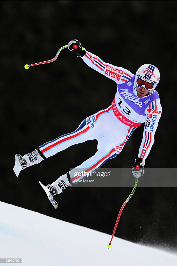 <a gi-track='captionPersonalityLinkClicked' href=/galleries/search?phrase=Adrien+Theaux&family=editorial&specificpeople=2138351 ng-click='$event.stopPropagation()'>Adrien Theaux</a> of France skis in the Men's Downhill Training during the Alpine FIS Ski World Championships on the Kandahar course on February 10, 2011 in Garmisch-Partenkirchen, Germany.