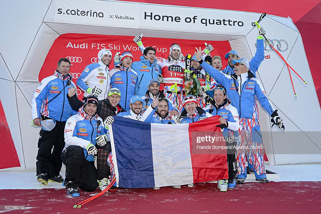 <a gi-track='captionPersonalityLinkClicked' href=/galleries/search?phrase=Adrien+Theaux&family=editorial&specificpeople=2138351 ng-click='$event.stopPropagation()'>Adrien Theaux</a> of France takes 1st place, <a gi-track='captionPersonalityLinkClicked' href=/galleries/search?phrase=David+Poisson&family=editorial&specificpeople=2233661 ng-click='$event.stopPropagation()'>David Poisson</a> of France takes 3rd place during the Audi FIS Alpine Ski World Cup Men's Downhill on December 29, 2015 in Santa Caterina Valfurva, Italy.