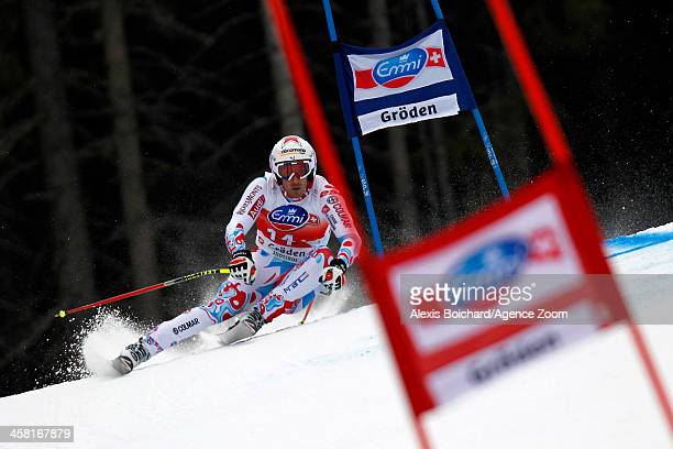 Adrien Theaux of France takes 3rd place during the Audi FIS Alpine Ski World Cup Men's SuperG on December 20 2013 in Val Gardena Italy