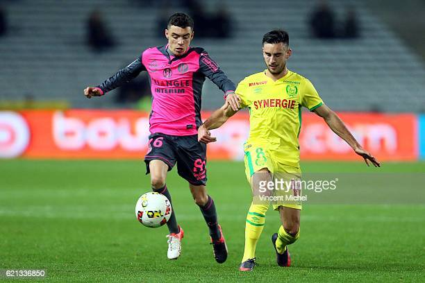 Adrien Thomasson of Nantes and Mathieu Cafaro of Toulouse during the Ligue 1 match between Fc Nantes and Toulouse Fc at Stade de la Beaujoire on...