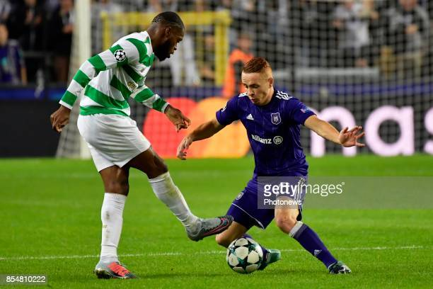 Adrien Trebel midfielder of RSC Anderlecht battles for the ball with Olivier Ntcham midfielder of Celtic FC during the Champions League Group B match...