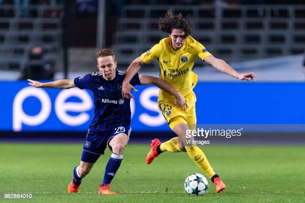 Adrien Trebel of RSC Anderlecht Adrien Rabiot of Paris SaintGermain during the UEFA Champions League group B match between RSC Anderlecht and Paris...