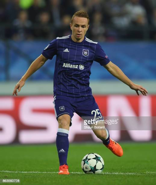 Adrien Trebel of RSC Anderlecht runs with the ball during the UEFA Champions League group B match between RSC Anderlecht and Paris SaintGermain at...