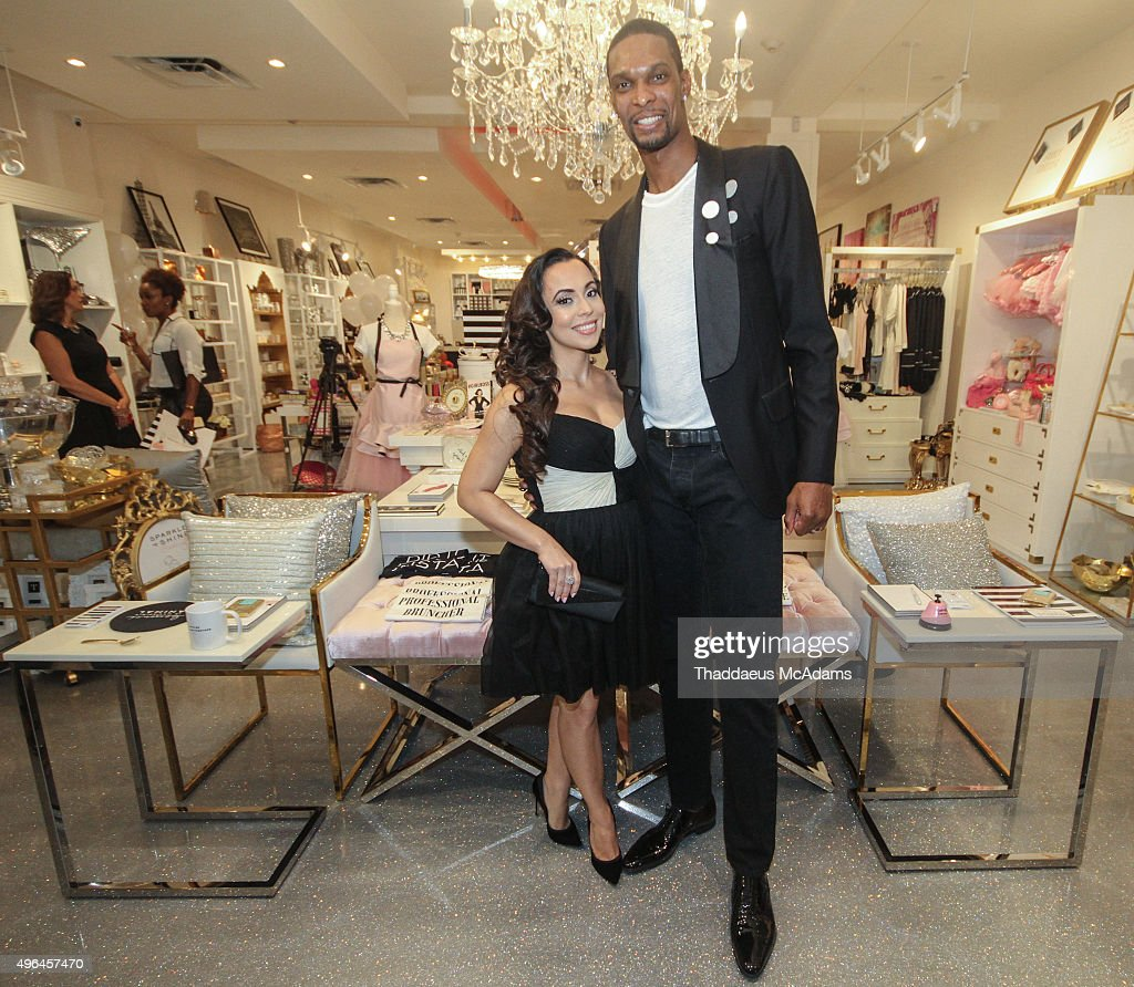 Adrienne and Chris Bosh at The Sparkle And Shine Grand Opening on November 9 2015 in Miami Beach Florida