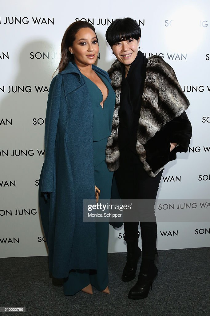 <a gi-track='captionPersonalityLinkClicked' href=/galleries/search?phrase=Adrienne+Bailon&family=editorial&specificpeople=540286 ng-click='$event.stopPropagation()'>Adrienne Bailon</a> (L) and designer Son Jung Wan backstage at the Son Jung Wan Fall 2016 fashion show during New York Fashion Week: The Shows at The Dock, Skylight at Moynihan Station on February 13, 2016 in New York City.