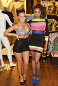 Adrienne Bailon and Miss Mykie attend the Launch of her Fingertip Fetish Nail Polish at Modalistas on May 23 2013 in New York City