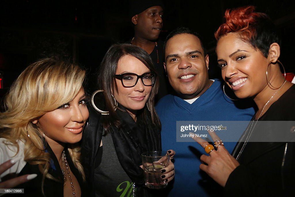 Adrienne Bailon, Angie Martinez, Talib Kweli, DJ Enuff and RaVaughn Brown attend the DJ Enuff Birthday Celebration at The Griffin on January 30, 2013 in New York City.