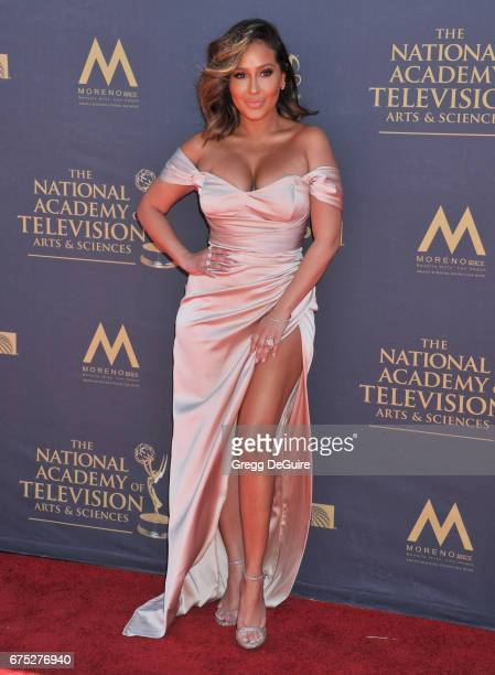 Adrienne Bailon arrives at the 44th Annual Daytime Emmy Awards at Pasadena Civic Auditorium on April 30 2017 in Pasadena California