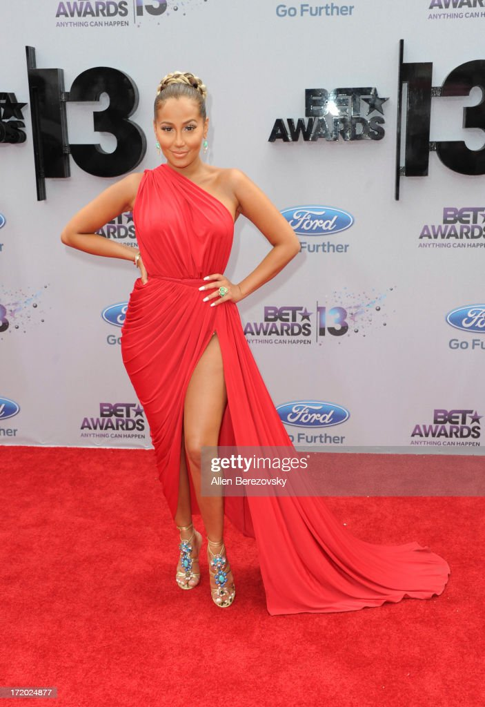 <a gi-track='captionPersonalityLinkClicked' href=/galleries/search?phrase=Adrienne+Bailon&family=editorial&specificpeople=540286 ng-click='$event.stopPropagation()'>Adrienne Bailon</a> attends 2013 BET Awards - Arrivals at Nokia Plaza L.A. LIVE on June 30, 2013 in Los Angeles, California.
