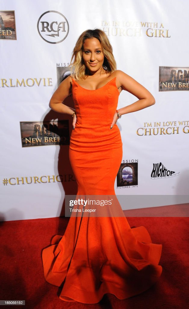 <a gi-track='captionPersonalityLinkClicked' href=/galleries/search?phrase=Adrienne+Bailon&family=editorial&specificpeople=540286 ng-click='$event.stopPropagation()'>Adrienne Bailon</a> attends the 'I'm In Love With A Church Girl' premiere at California Theatre on October 15, 2013 in San Jose, California.