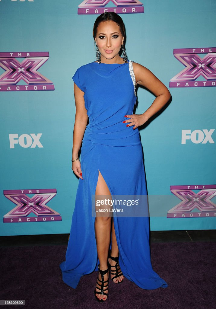 <a gi-track='captionPersonalityLinkClicked' href=/galleries/search?phrase=Adrienne+Bailon&family=editorial&specificpeople=540286 ng-click='$event.stopPropagation()'>Adrienne Bailon</a> attends the season finale of Fox's 'The X Factor' at CBS Television City on December 20, 2012 in Los Angeles, California.