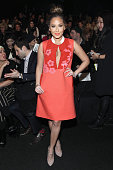 Adrienne Bailon attends the Vivienne Tam fashion show during MercedesBenz Fashion Week Fall 2015 at The Theatre at Lincoln Center on February 16 2015...