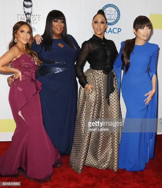 Adrienne Bailon Loni Love Tamera Mowry and Jeannie Mai attend the 48th NAACP Image Awards at Pasadena Civic Auditorium on February 11 2017 in...