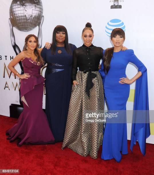 Adrienne Bailon Loni Love Tamera MowryHousley and Jeannie Mai arrive at the 48th NAACP Image Awards at Pasadena Civic Auditorium on February 11 2017...