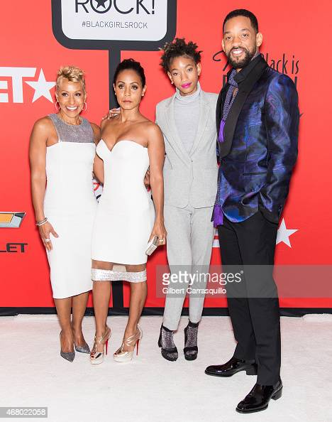 Adrienne BanfieldJones Jada Pinkett Smith Willow Smith and Will Smith attend the BET's 'Black Girls Rock' Red Carpet at NJ Performing Arts Center on...