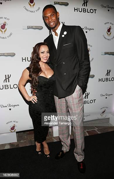 Adrienne Bosh and Chris Bosh attend the Miami HEAT Family Foundation night of 'Motown Revue' on February 27 2013 in Miami Florida
