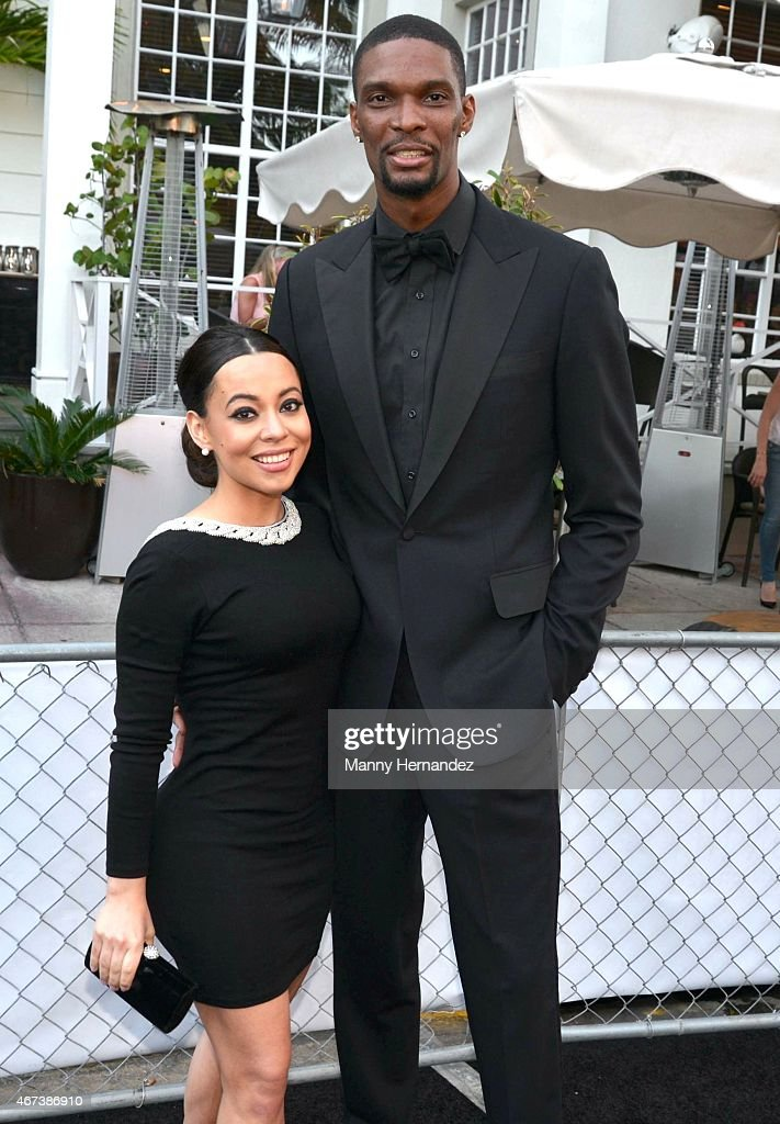 Adrienne Bosh and Chris Bosh attends Miami Heat Black Tie On Ocean Drive Gala at Betsy Hotel Rooftop on March 14 2015 in Miami Beach Florida