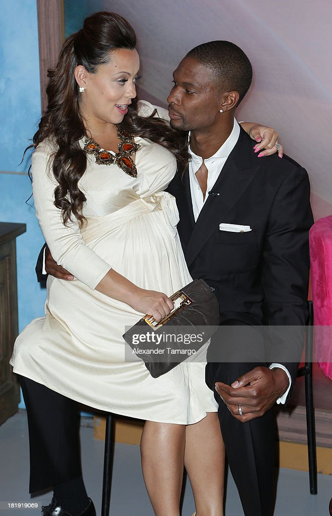 Adrienne Bosh and Chris Bosh visit Univision's 'Despierta America' morning show at Univision Headquarters on September 26 2013 in Miami Florida