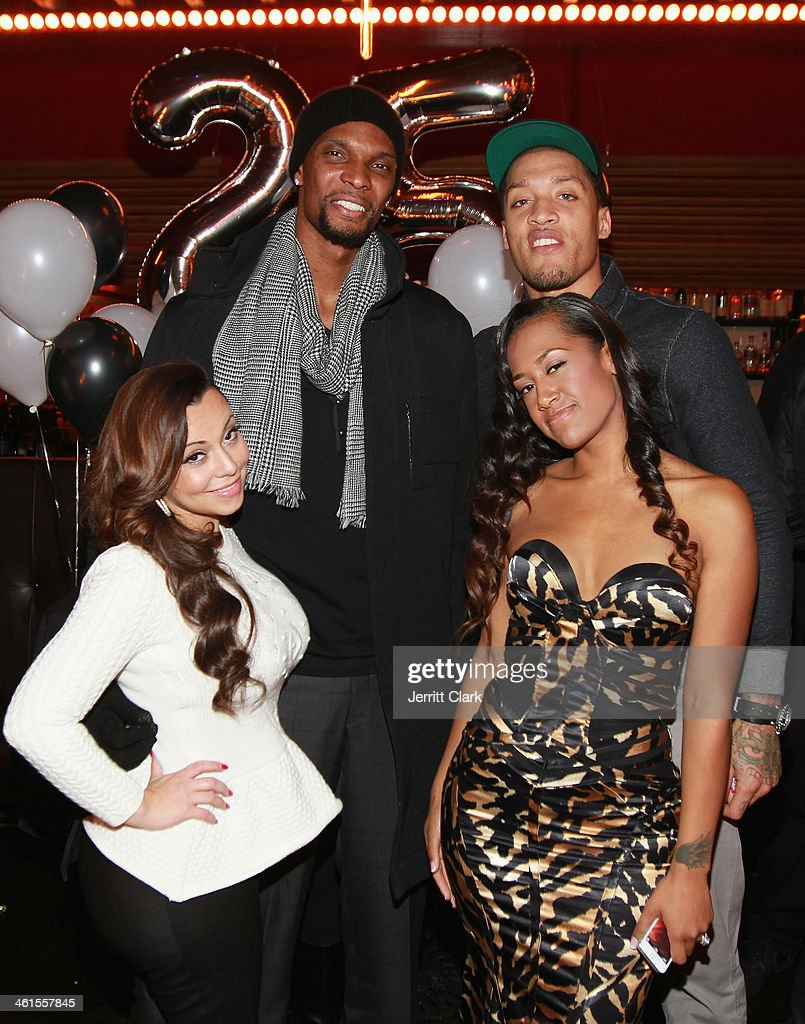 Adrienne Bosh Chris Bosh Michael Beasley and Kaleila Pufolkes attend Michael Beasley's 25th birthday celebration at The General on January 7 2014 in...