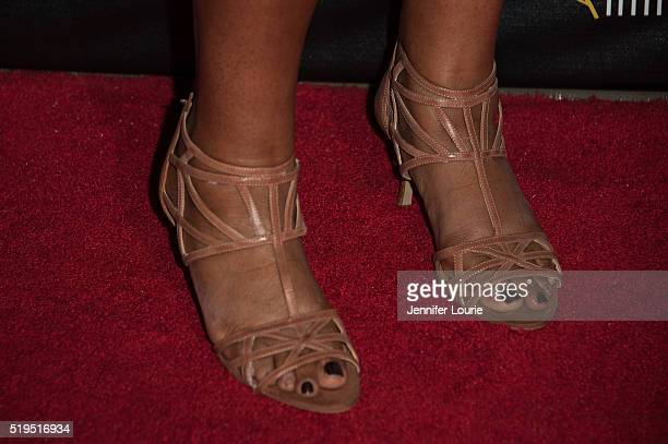 Adrienne C Moore shoe detail arrives at the opening night premiere of the Beverly Hills Film Festival featuring 'The Lennon Report' and 'Baby Baby...