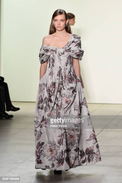 Adrienne J'u009fliger walks the runway at Brock Collection Show during New York Fashion Week Fall Winter 20172018 at Gallery 2 Skylight Clarkson Sq...