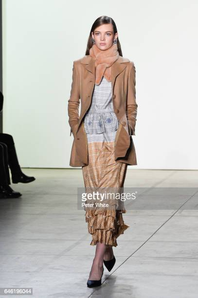 Adrienne Jufliger walks the runway at Brock Collection Show during New York Fashion Week Fall Winter 20172018 at Gallery 2 Skylight Clarkson Sq on...