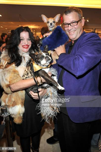Adrienne Landau Smoochie Martini and Steve Mcnees attend BERGDORF GOODMAN Fashion's Night Out at Bergdorf Goodman on September 10 2010 in New York...