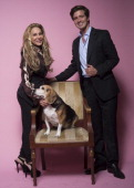 Adrienne Maloof and Jacob Busch pose for a portrait at Mark Kearney Group 'Iced Out' Luxury Emmy Suite Inside Day 1 on September 19 2013 in Los...