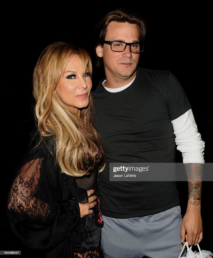 Adrienne Maloof and <a gi-track='captionPersonalityLinkClicked' href=/galleries/search?phrase=Sean+Stewart+-+Son+of+Rod+Stewart&family=editorial&specificpeople=243026 ng-click='$event.stopPropagation()'>Sean Stewart</a> attend Perez Hilton's 35th birthday party at El Rey Theatre on March 23, 2013 in Los Angeles, California.