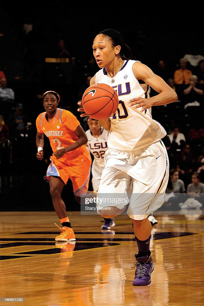 Adrienne Webb #10 of the LSU Tigers brings the ball down court against the Tennessee Volunteers during a game at the Pete Maravich Assembly Center on February 7, 2013 in Baton Rouge, Louisiana. Tennessee won the game 64-62.