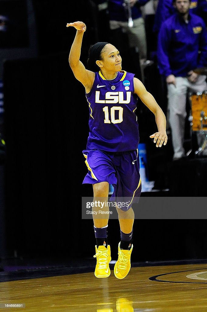 Adrienne Webb #10 of the LSU Tigers reacts to a shot against the Penn State Lady Lions during the second round of the NCAA Tournament at the Pete Maravich Assembly Center on March 26, 2013 in Baton Rouge, Louisiana. LSU won the game 71-66.