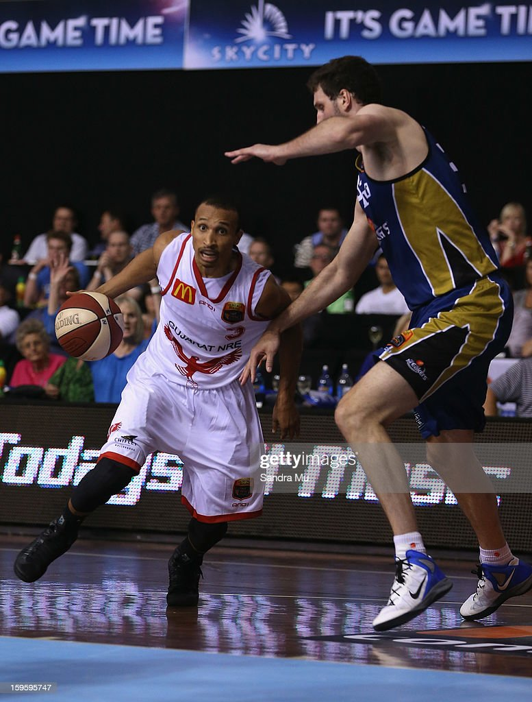 Adris Deleon of the Hawks in action during the round 15 NBL match between the New Zealand Breakers and the Wollongong Hawks at North Shore Events Centre on January 17, 2013 in Auckland, New Zealand.