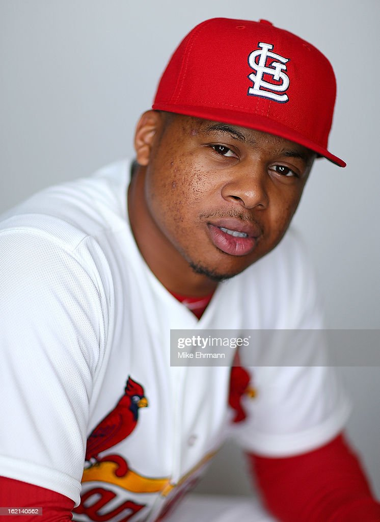 Adron Chambers #56 of the St. Louis Cardinals poses during photo day at Roger Dean Stadium on February 19, 2013 in Jupiter, Florida.